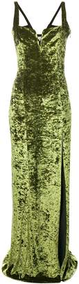 Galvan solstice velvet dress avocado