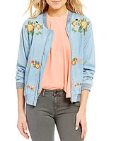GB Floral-Embroidered Chambray Bomber Jacket