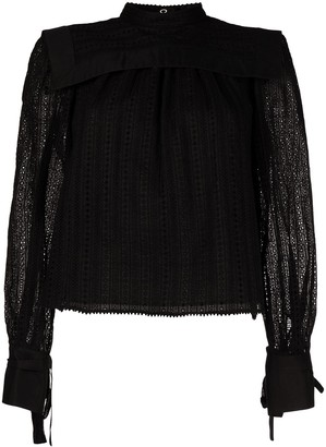 Isabel Marant Broderie Anglaise Tie-Cuff Blouse