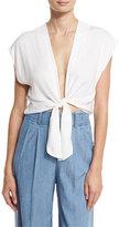 Alice + Olivia Jenara Tie-Front Cap-Sleeve Top