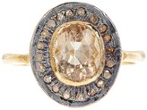 Gold Plated Sterling Silver Diamond & Citrine Ring