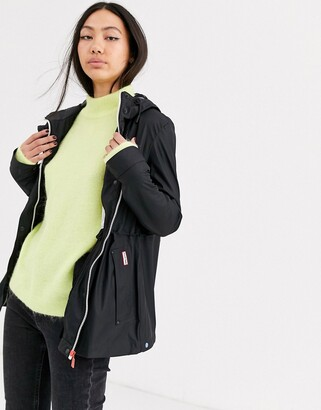 Hunter lightweight rubberised rain mac in black