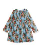 Gucci Long-Sleeve Floral Dress, Size 12-36 Months