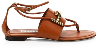 Tod's Double-T Leather Thong Sandals