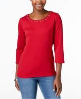 Karen Scott Cotton Grommet-Detail T-Shirt, Created for Macy's