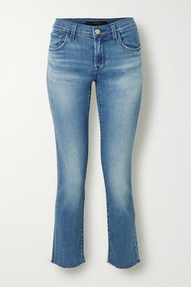 J Brand Adele Cropped Distressed Mid-rise Slim-leg Jeans - Mid denim