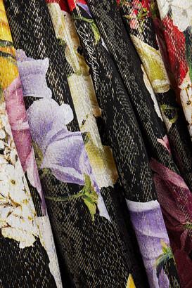 Dolce & Gabbana Metallic Floral-print Silk-blend Chiffon Maxi Dress