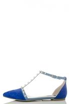 Quiz Blue Studded T-Bar Pumps