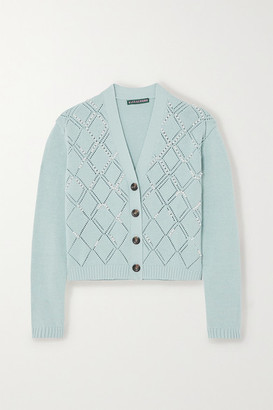 ALEXACHUNG Faux Pearl-embellished Wool And Cotton-blend Cardigan - Sky blue