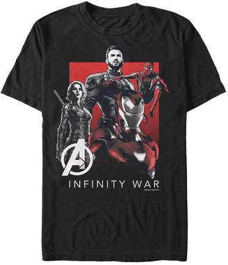 Marvel Men Avengers Infinity War Black and Red Logo Group Shot Short Sleeve T-Shirt