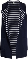 Joan Vass Joan Vass, Plus Size Striped Interior Sweater Vest