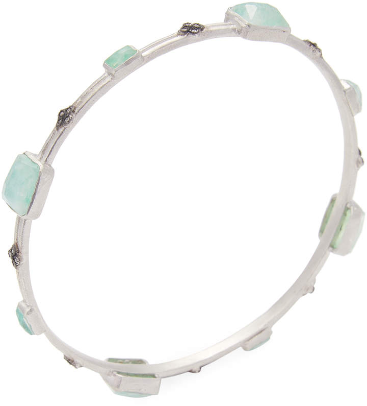 Armenta Women's Sterling Silver New World Chrysoprase, Moonstone & Diamond Bangle Bracelet
