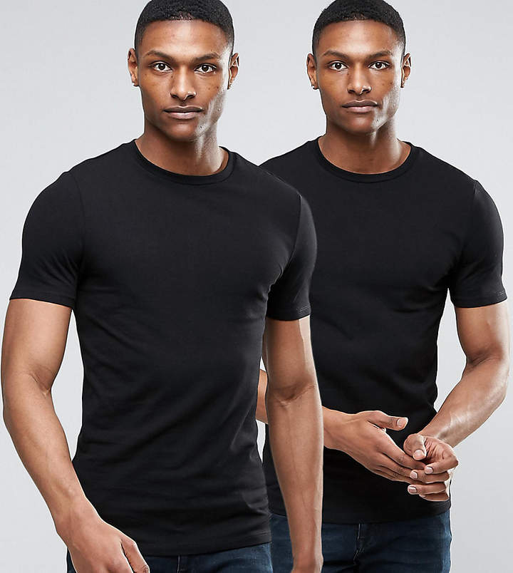 Asos Tall Muscle Fit T-Shirt 2 Pack Save