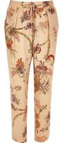 River Island Womens Pink floral print soft tapered pants