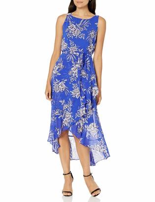 Sandra Darren Women's 1 PC Sleeveless Uneven Hem Belted Chiffon Dress
