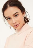 Missguided Rose Gold Cross Drop Earrings