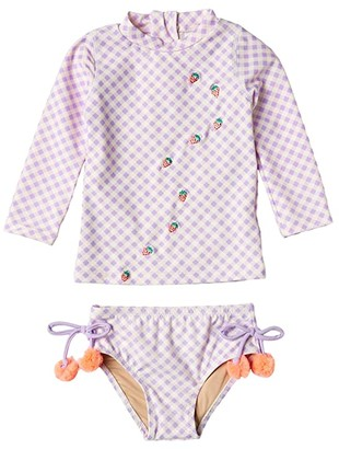 Shade Critters Two-Piece Rashguard Set in Gingham (Infant/Toddler) (Purple) Girl's Swimwear Sets