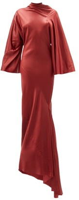 Rick Owens Ruched Mock-neck Latex Maxi Dress - Red