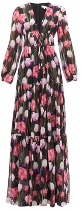 Borgo de Nor Freya Floral-print Banded Silk-chiffon Maxi Dress - Womens - Black Multi