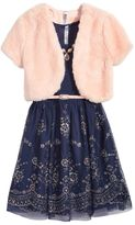 Beautees 2-Pc. Bolero and Dress Set With Belt and Necklace, Big Girls (7-16)