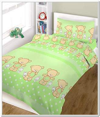 Camilla And Marc BlueberryShop 2 Piece Baby Cot Duvet and Pillow Covers Bedding Set, 150 cm Length x 120 cm Width, Green Happy Teddy