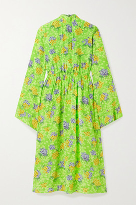 Les Rêveries Gathered Floral-print Silk-crepe Midi Dress - Green