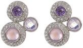 Judith Jack Sterling Silver Purple Crystal & Halo Set Clear Crystal Cluster Earrings