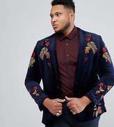 Asos PLUS Skinny Blazer In Navy Velvet With Embroidery