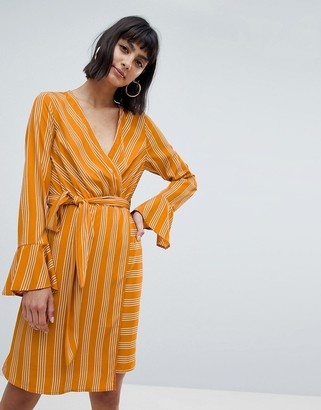 Vero Moda stripe tie wrap midi dress in yellow