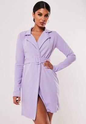 Missguided Lilac Self Belted Stretch Wrap Blazer Dress