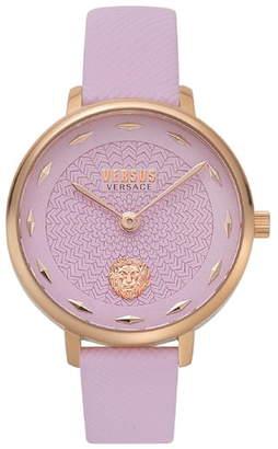 Versace La Villette Leather Strap Watch, 36mm