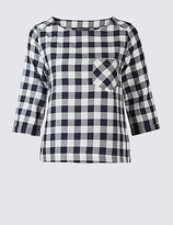 M&S Collection Modal Blend Gingham 3/4 Sleeve Shell Top