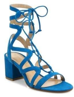 Gianvito Rossi Suede Lace-Up Block Heel Sandals