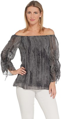 H by Halston Printed Chiffon Off-the- Shoulder Woven Blouse