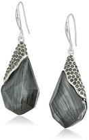 """Robert Lee Morris Into The Mist"""" Pave Geometric Faceted Stone Drop Earrings"""
