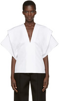 Victoria Beckham White V-neck Cape Blouse