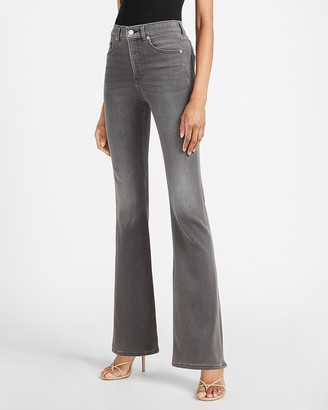 Express High Waisted Gray Luxe Comfort Knit Flare Jeans