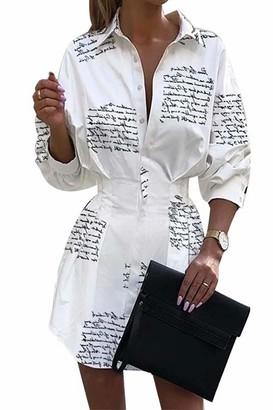 Auplkocq Women's Dress Button Up Long Sleeve Ruched Print Mini Shirt Dress Office Dress Pineapple S
