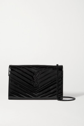 Saint Laurent Monogramme Quilted Patent-leather Shoulder Bag - Black