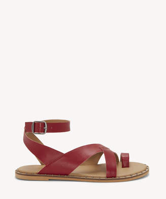 Lucky Brand Women's Farran Ankle Strap Flat Sandals Garnet Size 5 Leather From Sole Society