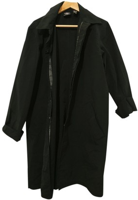 DKNY Black Cotton Trench Coat for Women