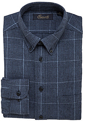 Roundtree & Yorke Cotton Long-Sleeve Plaid Sportshirt