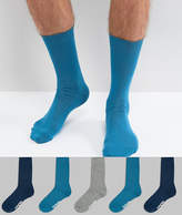 Asos Socks In Navy With Branded Sole 5 Pack