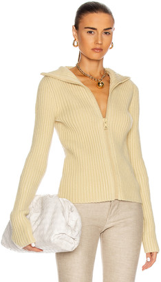 Bottega Veneta Ribbed Cardigan in Butter | FWRD