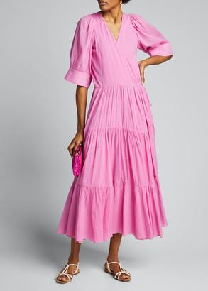 Rhode Resort Gina Tiered Short-Sleeve Wrap Dress