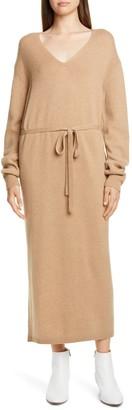 Vince V-Neck Long Sleeve Wool & Cashmere Sweater Dress