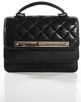 DKNY Black Leather Quilted Silver Tone Trim Satchel Handbag