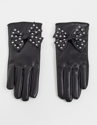 My Accessories London gloves with studded bow detail in black faux leather