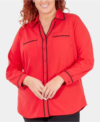NY Collection Plus Size Contrast-Trim Roll-Tab Shirt