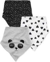 Carter's 3-Pk. Printed Cotton Bandana Bibs, Baby Girls